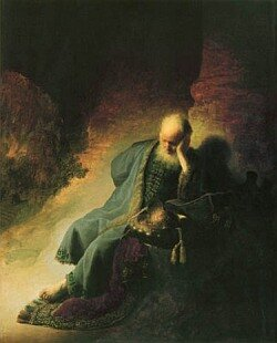 Jeremias lamenting the destruction of Jerusalem, by Rembrandt